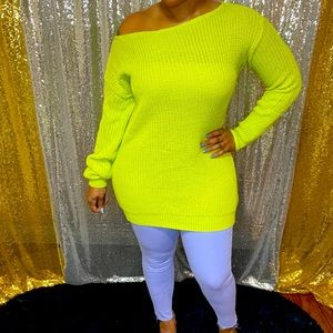 Neon green off the shoulders sweater.